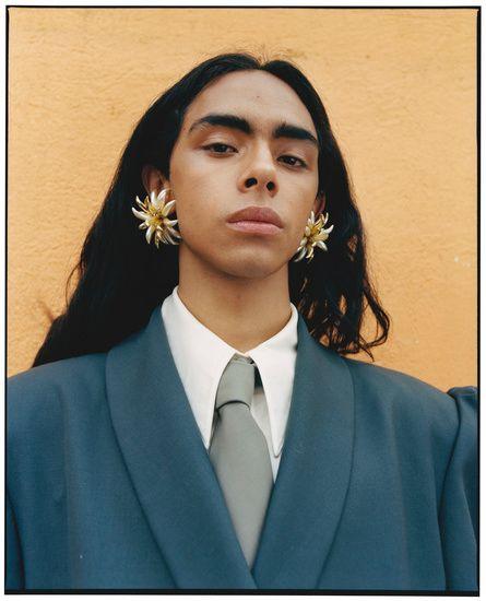 franceline graham inspiration flower earrings suit