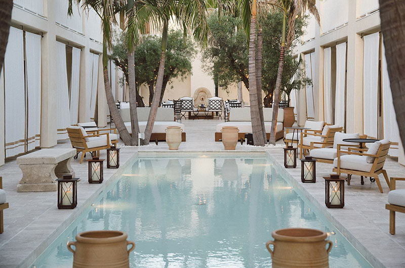 Melanee Shale inspiration indoor pool lanters beach vibe